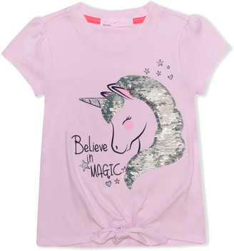 Young Hearts Girls' Tee Shirts PINK - Pink 'Believe in Magic' Unicorn Sequin Knot-Hem Top - Toddler & Girls