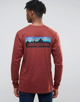 Patagonia Long Sleeve Top With P6 Logo In Regular Fit Red