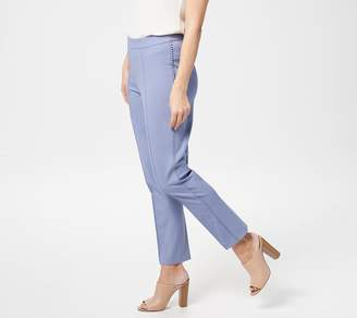 Isaac Mizrahi Live! Tall 24/7 Stretch Lollipop Trim Ankle Pants