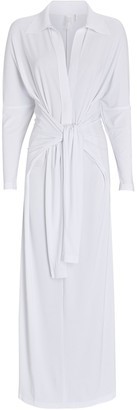 Norma Kamali Jersey Maxi Wrap Shirt Dress