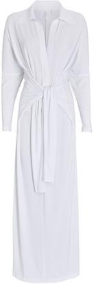 Norma Kamali Jersey Maxi Wrap Shirt Dress