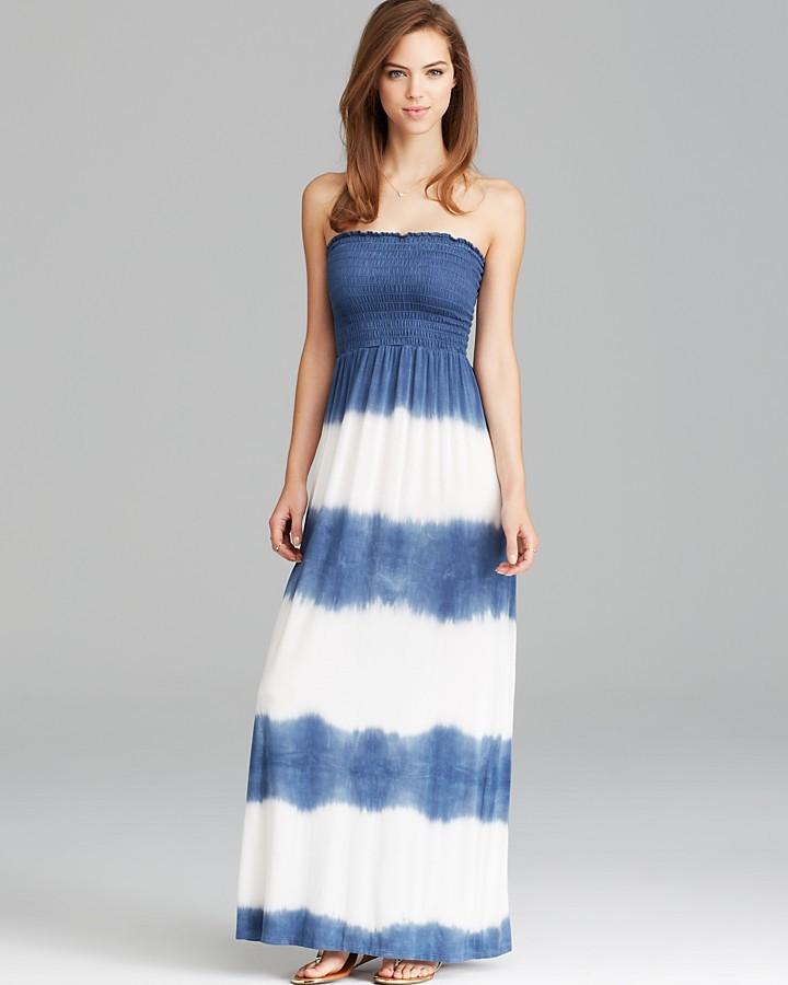 Aqua Maxi Dress - Strapless Tie Dye Smocked Bust