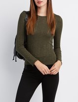 Charlotte Russe Ribbed Crew Neck Top