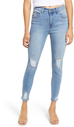 Prosperity Denim Ripped High Waist Crop Skinny Jeans
