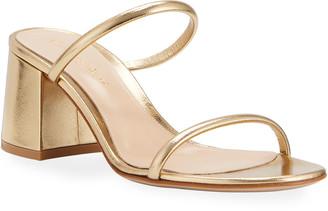 Gianvito Rossi 60mm Metallic Leather Block-Heel 2-Strap Slide Sandals