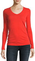 Majestic Paris for Neiman Marcus Cotton/Cashmere Knit V-Neck Top
