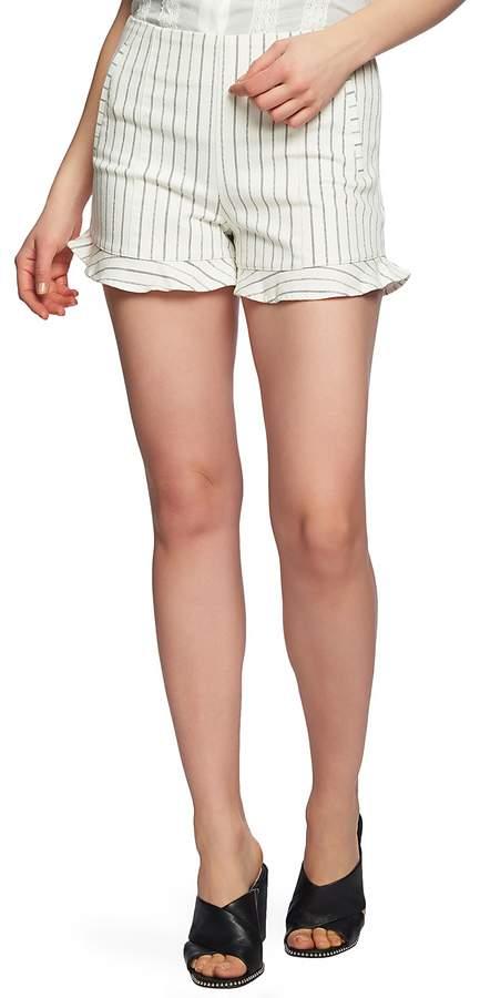 1.STATE Chalk Stripe Ruffle Hem Stretch Cotton Shorts