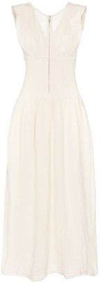 Jil Sander Smocked linen maxi dress