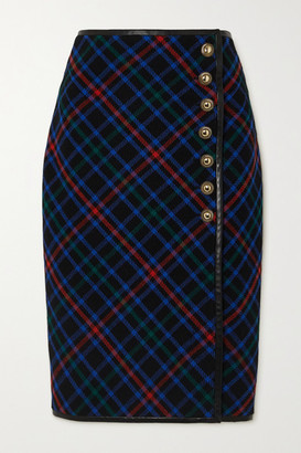 Saint Laurent Leather-trimmed Checked Wool-twill Skirt - Navy
