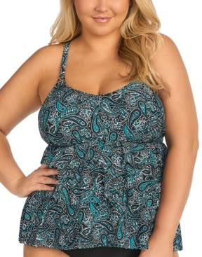 Island Escape Swimwear Trendy Plus Size Paisley Bliss Tiered Underwire Tankini Top, Created for Macy's Women's Swimsuit
