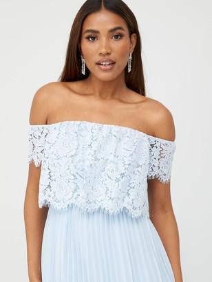 Very Lace Bardot Pleated Skirt Prom Dress - Blue