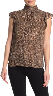 Vince Camuto Leopard Smocked Mock Neck Ruffle Cap Sleeve Blouse