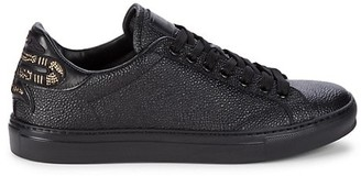 Roberto Cavalli Low-Top Textured Leather Sneakers