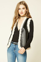 Forever 21 FOREVER 21+ Embroidered Faux Suede Vest