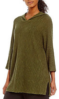Eileen Fisher Hooded 3/4 Sleeve Tunic Sweater