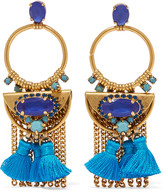 Elizabeth Cole Tasseled burnished gold-plated Swarovski crystal earrings