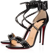 Christian Louboutin Choca Spikes 100 Black/Nikel Leather - Women Shoes