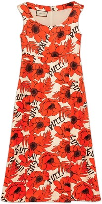 Gucci Poppies print silk sleeveless dress