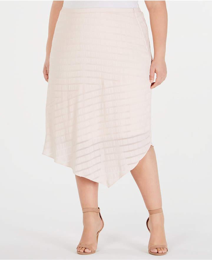 Plus Size Novelty Pointed-Hem Midi Skirt