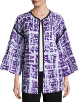 Misook Textured-Knit 3/4-Sleeve Jacket, Purple/White