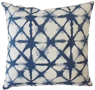 One Kings Lane Leila Pillow - Blue/White - 18x18