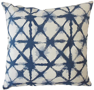 One Kings Lane Leila Pillow - Blue/White