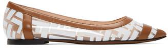 Fendi Brown and White PVC Colibri Ballerina Flats