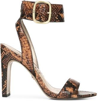 Sam Edelman Yola Python-Embossed Leather Ankle-Strap Sandals