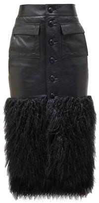 Saint Laurent Faux-fur Trim Leather Skirt - Womens - Black