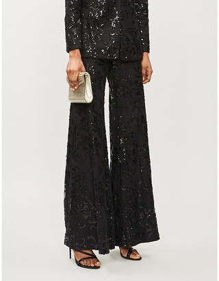 Alexis Silvestro sequin-embellished wide mid-rise mesh trousers
