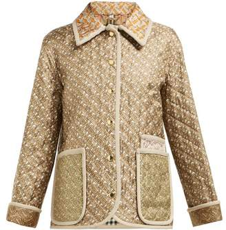 Burberry Monogram Print Single Breasted Quilted Silk Jacket - Womens - Beige Multi