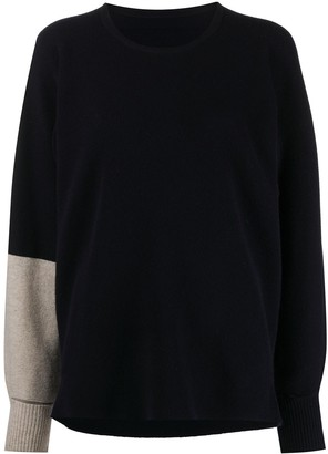 Issey Miyake Fine Knit Jumper With Dual Tone Sleeve
