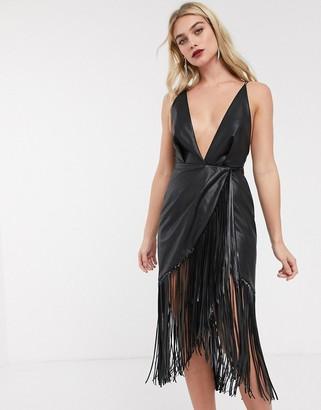 Asos Design DESIGN strappy back midi dress in PU with fringe hem-Black