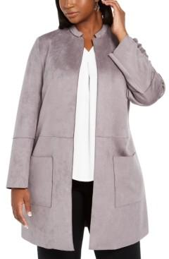 Nine West Plus Size Tie-Belted Faux-Suede Scuba Jacket