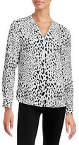 I.N.C International Concepts Printed Zip-Front Blouse