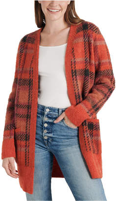 Lucky Brand Oversized Plaid Knit Cardigan Sweater