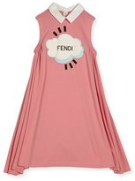 Fendi Sleeveless Collared Logo Swing Dress, Pink, Size 3-5