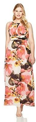 Sangria Women's Size Floral Chiffon Gown Plus