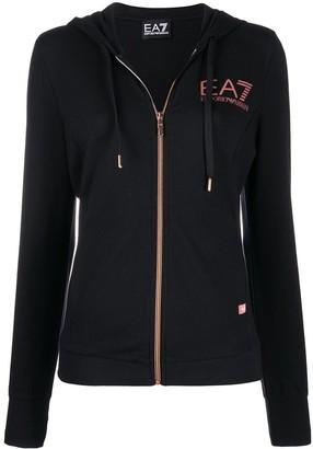 EA7 Emporio Armani Logo Print Zip-Up Hoodie