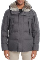 Andrew Marc Darien Rabbit Fur Trim Hooded Puffer Coat