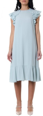 RED Valentino Crepe Dress In Light Blue Color