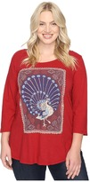 Lucky Brand Plus Size Peacock Rug Tee
