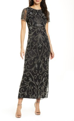 Pisarro Nights Beaded Illusion Mesh A-Line Gown