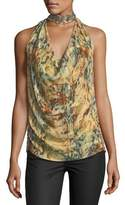 Haute Hippie The Orian Draped Halter Silk Tank w/ Embellishments