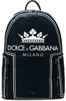 Dolce & Gabbana Crown Logo Print Backpack