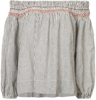 The Great ruched trim off-the-shoulder top