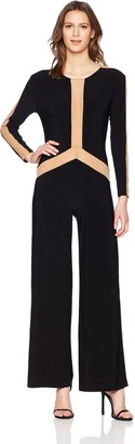 Norma Kamali Women's Spliced Long Sleeve Jumpsuit