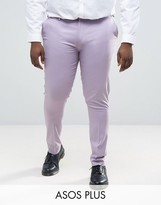 Asos Plus Super Skinny Smart Trousers In Light Purple