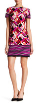 London Times Geo Puzzle Boarder Short Sleeve Shift Dress (Petite)