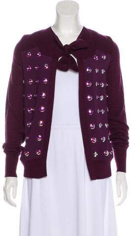 Tory Burch Embellished Long Sleeve Cardigan